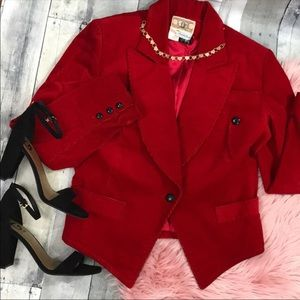 Saks fifth ave Vintage red corduroy jacket, medium